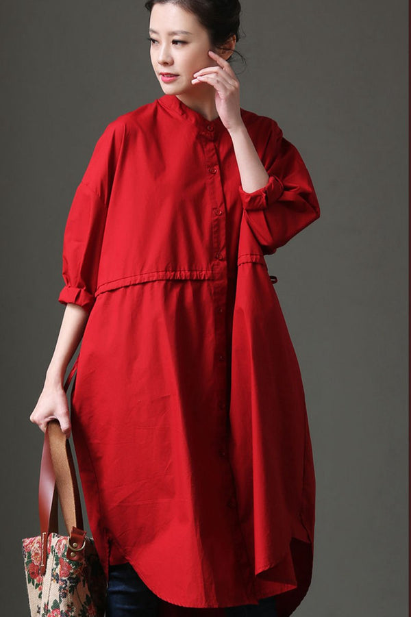 Women Cotton Red And White Long Sleeve Shirt Dress C1133 - FantasyLinen