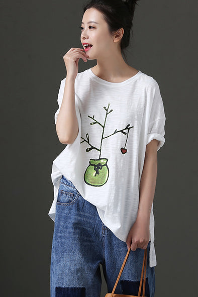 Loose Art White Printed Thin Cotton T Shirt For Women T1852
