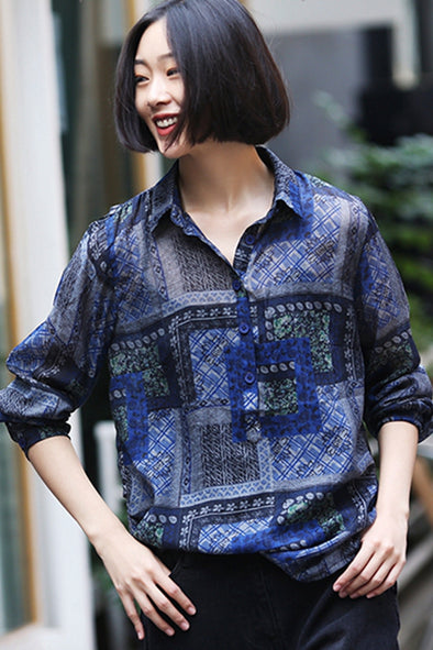 Vintage Casual Print Shirt Women Loose Blouse For Autumn C1016