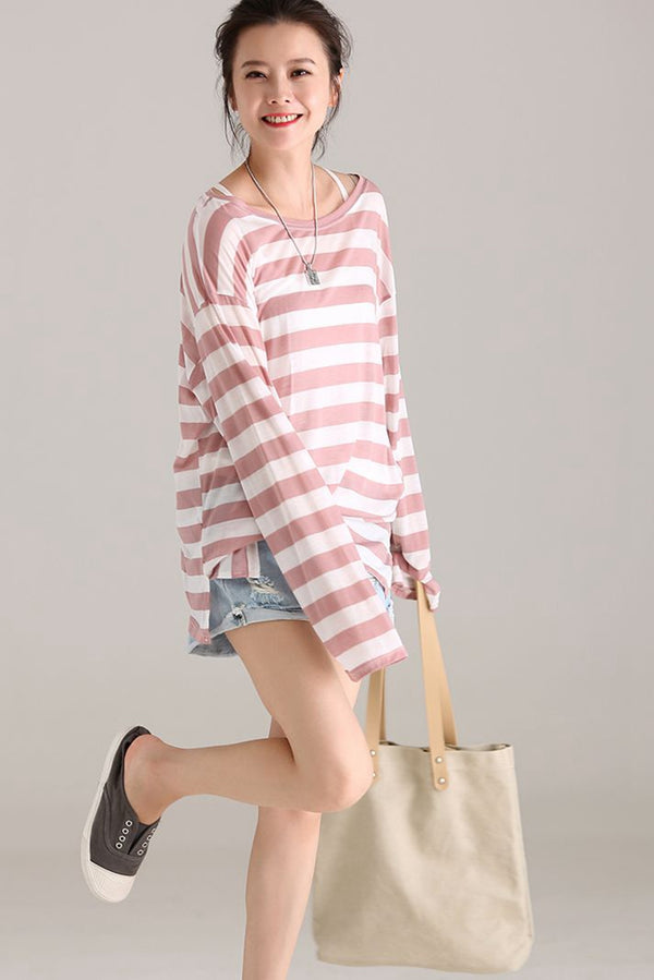 Loose Striped Long Sleeve Shirt Women Cotton Blouse T3031