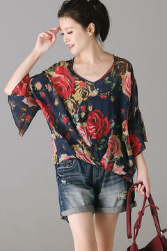 Cute Floral Blue T Shirt Women Loose Blouse C1500