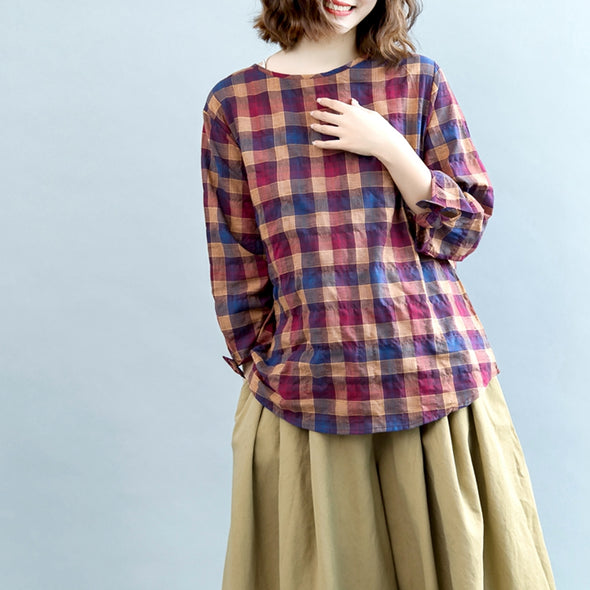 Casual Striped Cotton Linen Shirt Women Loose Tops For Fall S6089