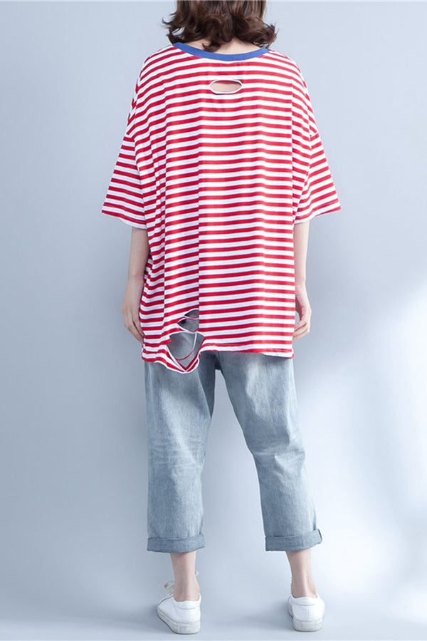 Summer Red Striped Short Sleeve Cotton Women Shirt S1641 - FantasyLinen