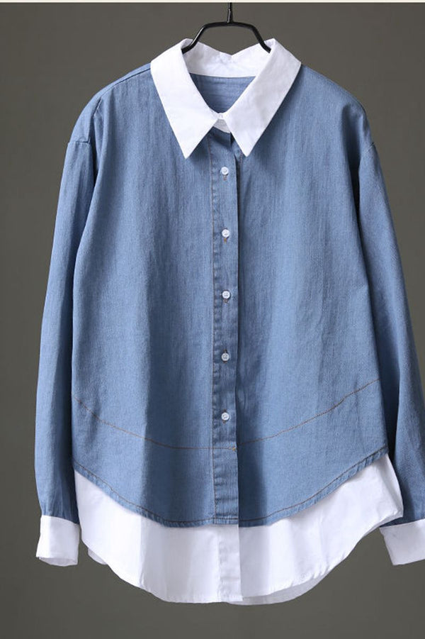 Cotton Quilted Blue Jeans Short Shirt For Women C8052 - FantasyLinen
