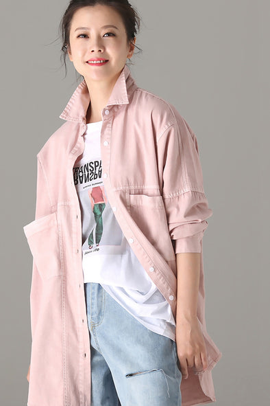 Vintage Pink Cotton Shirt Women Fall Blouse C6565