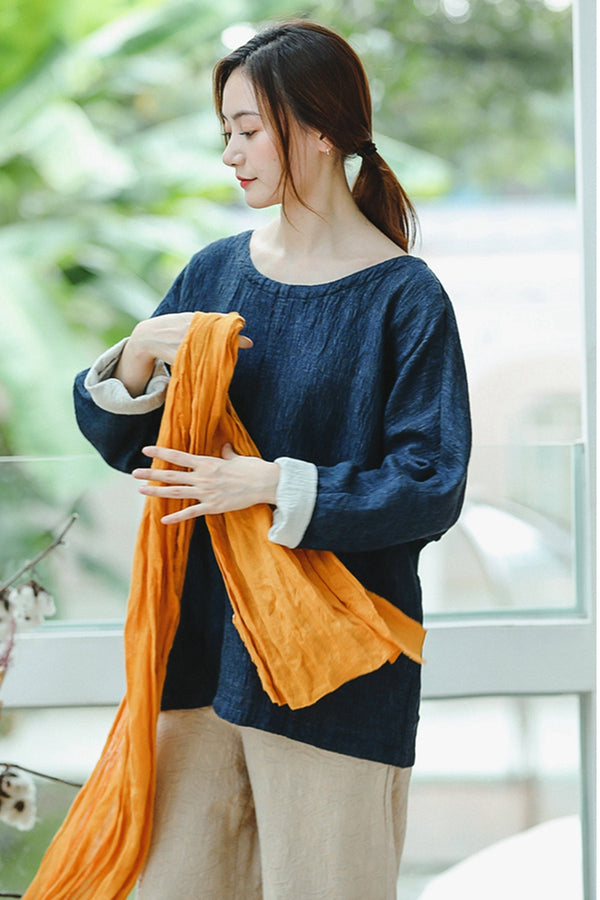 Casual Loose Blue Cotton Shirt Women Fall Blouse T8924