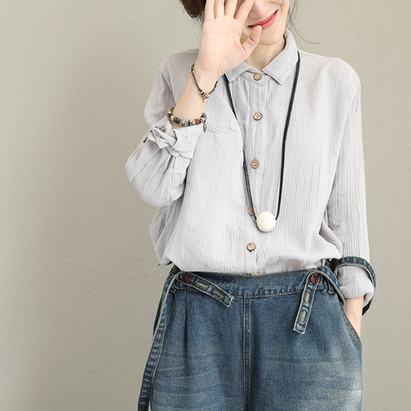 Vintage Beige Cotton Shirt Women Fall Blouse Q1396