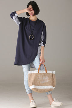 Casual Quilted Cotton Long Shirt Women Tops For Autumn T8600