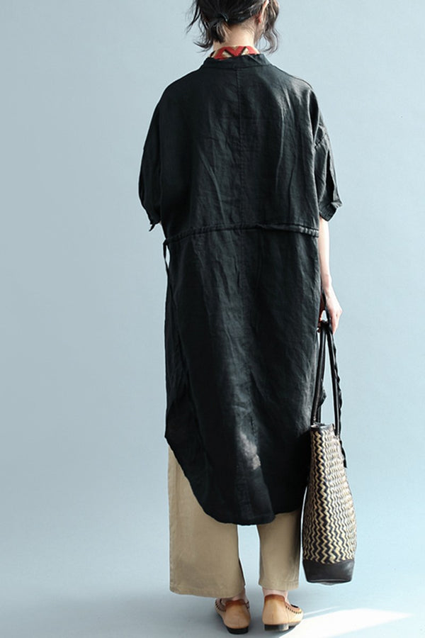 Women Cotton Loose Long Shirt With Sleeve S2343