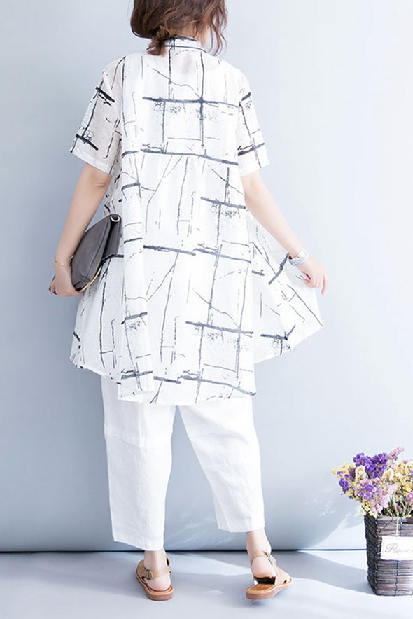 New Style White Printed Thin Linen Long Shirt For Women S7055