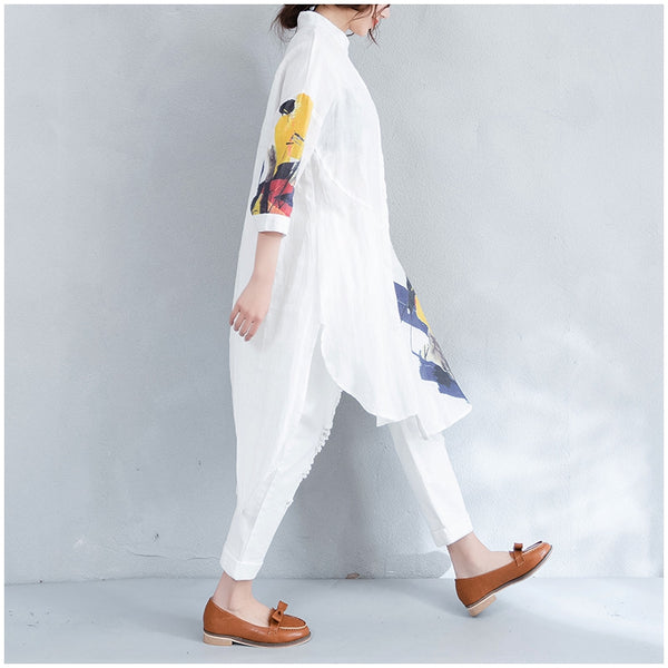 Summer Loose Print Long Shirt Women Casual Linen Blouse S1672