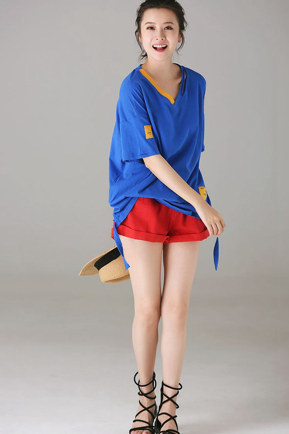 Casual Loose Cotton T Shirt Women Fashion Blouse T8838