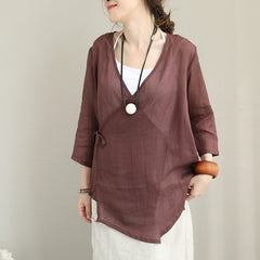 Vintage Casual Linen Shirt Women Tops For Fall Q1383