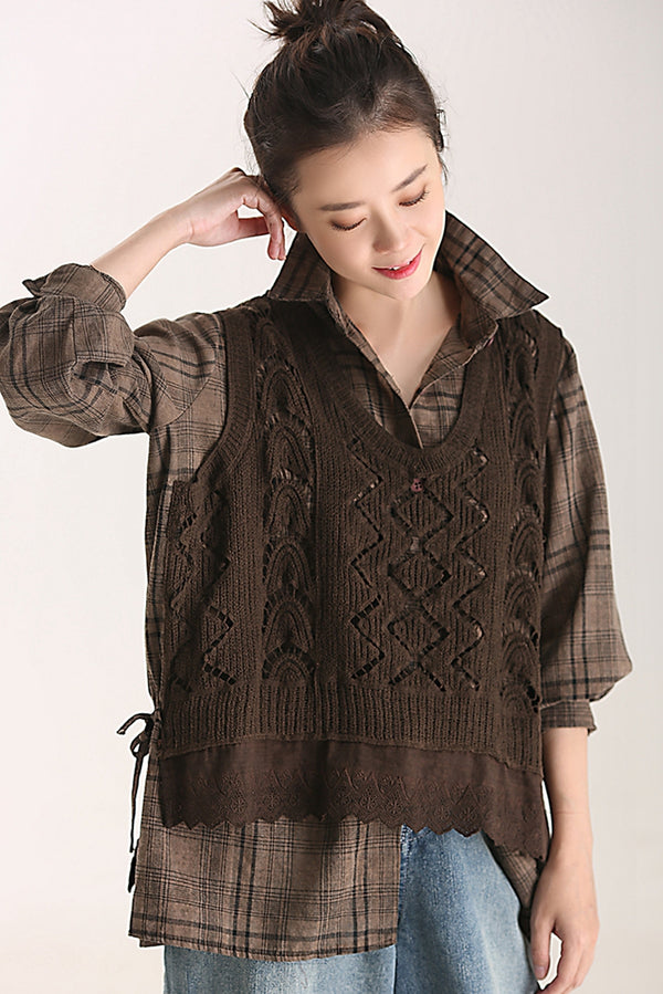 Fall Quilted Plaid Cotton Shirt Women Casual Blouse C8385