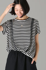 Loose Black Striped T Shirt Women Casual Blouse T8088