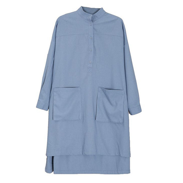 Plus Size Button Down Blue Shirt Women Cotton Linen Blouse S1162