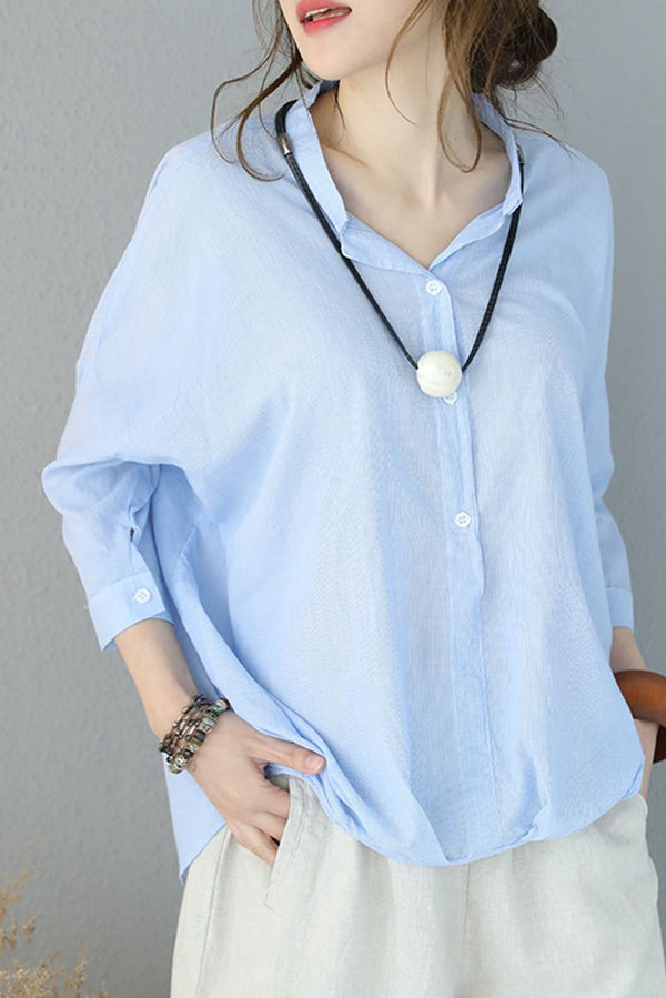 Summer Stand Collar Pinstripe Button Shirt Cotton Tops Q8931