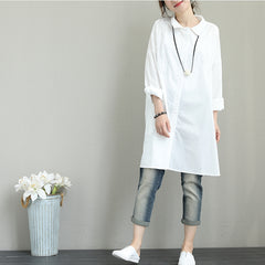 Casual Loose Black And White Cotton Shirt For Women Q1385