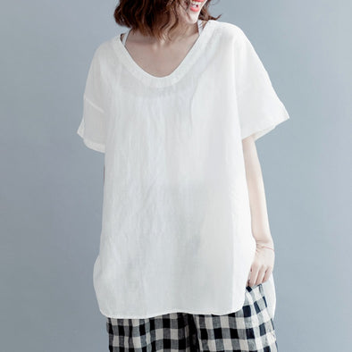 V Neck Casual Linen Short T Shirt For Women S3042