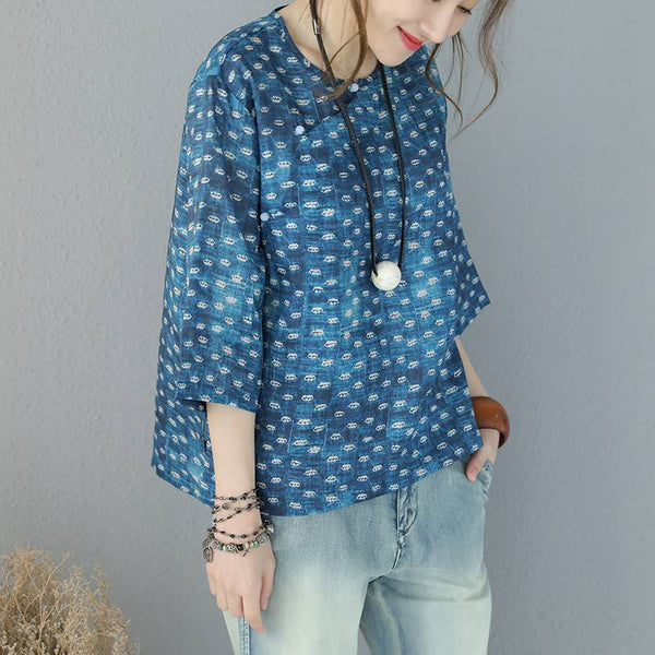 Women Summer Vintage Art Linen Blue Short T Shirt Q9521