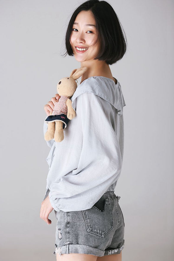 Fashion Cute Cotton Shirt Women Fall Tops C8336