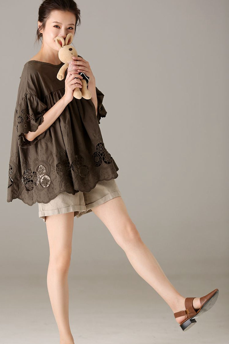 e4d59789cbe2 Summer Loose Cotton Blouse Women Fashion Tops C9011