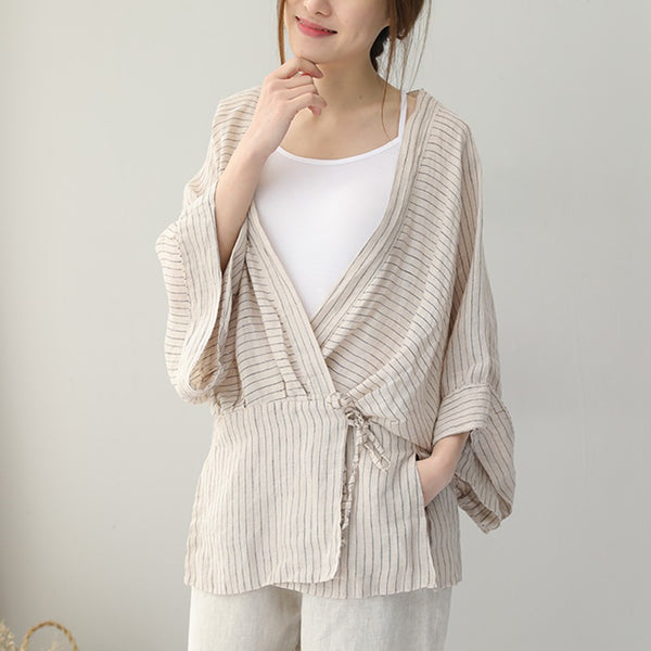Women Summer Loose Bat Sleeve Striped Linen T Shirt Q9061