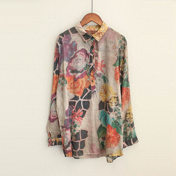 Cute Vintage Cotton Print Shirt Women Casual Blouse Q1678