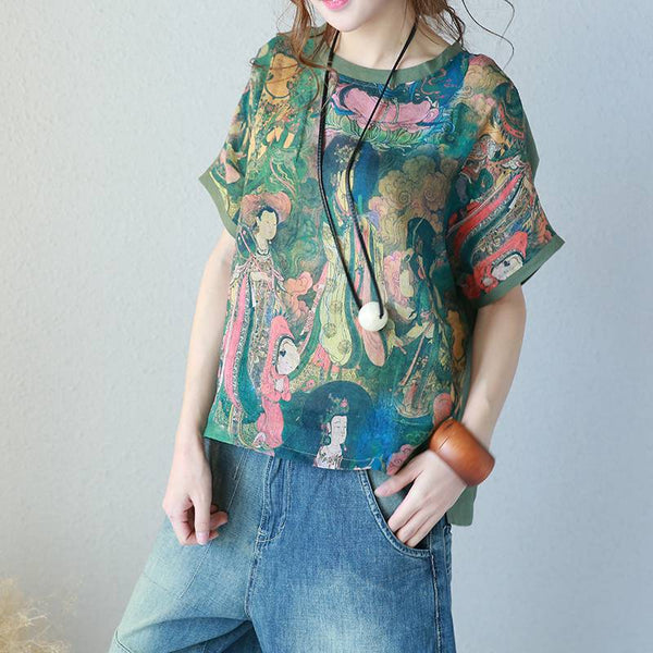 Summer Women Round Neck Printed Short T Shirt Quilted Tops 311