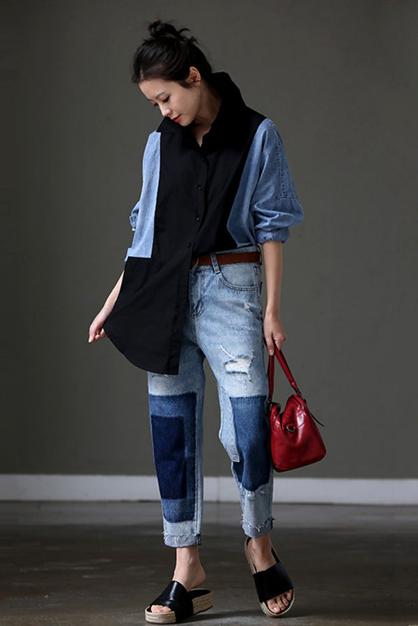 Women Denim Quilted Loose Long Shirt C9058 - FantasyLinen