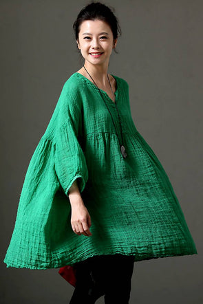 Summer Cotton Linen V Neck Plus Size Long Women Shirt C271 - FantasyLinen