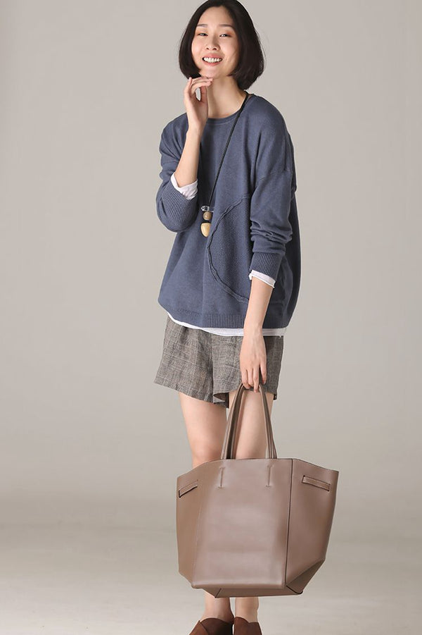 Casual Blue Knitwear Women Fall Blouse M8670