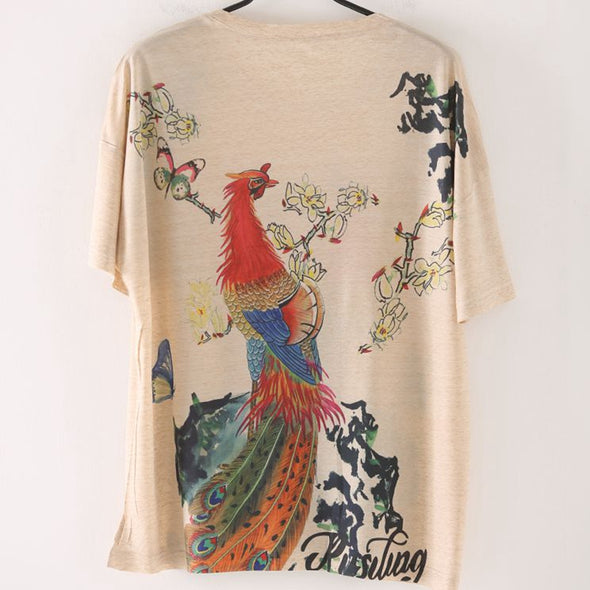 Chinese Style Print Cotton T Shirt Women Cute Blouse T8266