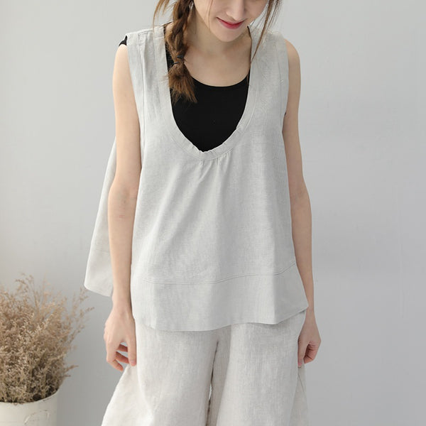 Women Summer Two Piece Linen Shirt Sleeveless Tops Q9231