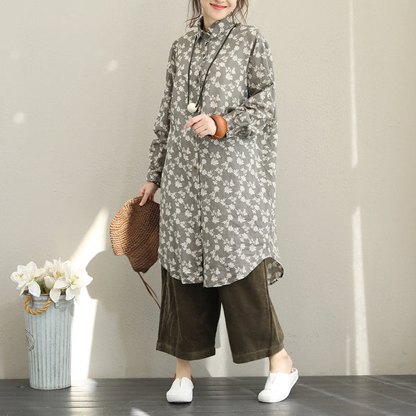 Fall Vintage Print Linen Long Shirt For Women Q1521
