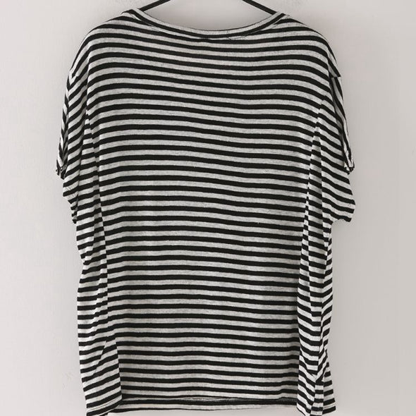 Casual Striped Black T Shirt Women Loose Blouse T8096