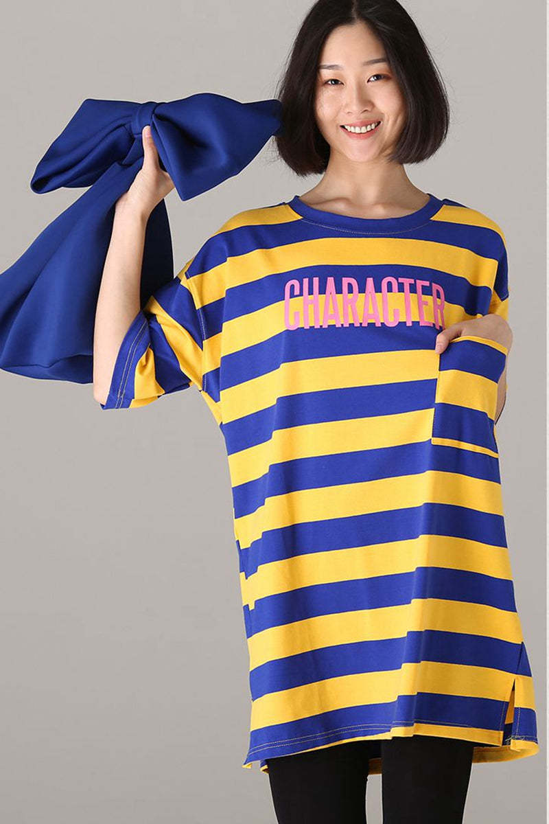 183fc0d845c Loose Print Striped Medium Length T Shirt Women Cotton Blouse T2892 ...