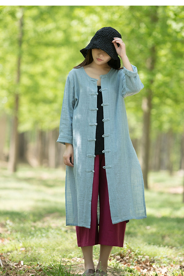Women Chinese Style Summer Long Sleeve Lycras Button Down Shirt Coat S7059