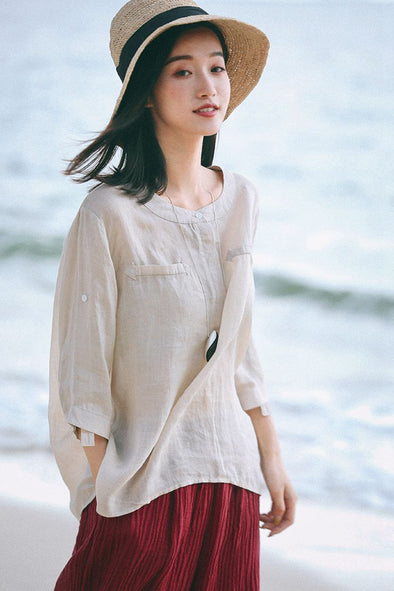 Loose Beige Linen T Shirt Women Fashion Tops S7087