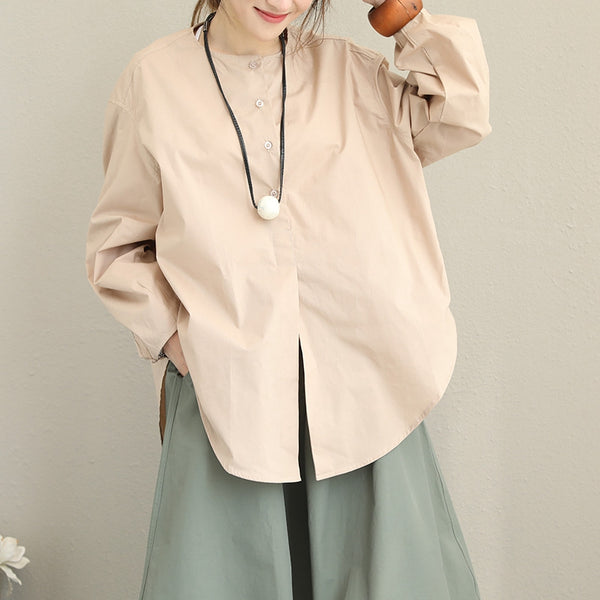 Simple Casual Cotton Shirt Women Tops For Autumn Q1380