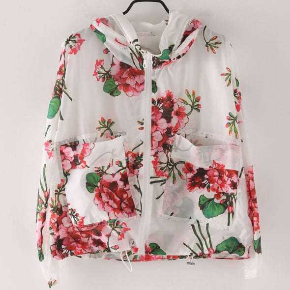 Cute Hoodie Floral Coat Women Fashion Jacket W8831