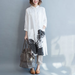 Plus Size Long Shirt Women Cotton Linen Tops For Fall S6085