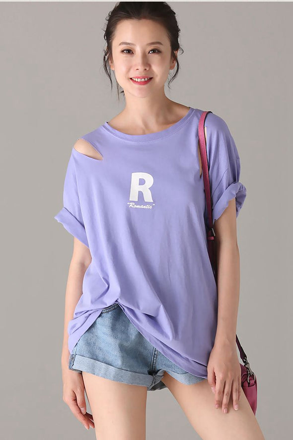 Casual Print Cotton T Shirt Women Summer Tops T1869