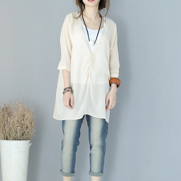 Women Summer V Neck Casual Thin T Shirt Long Lycras 932