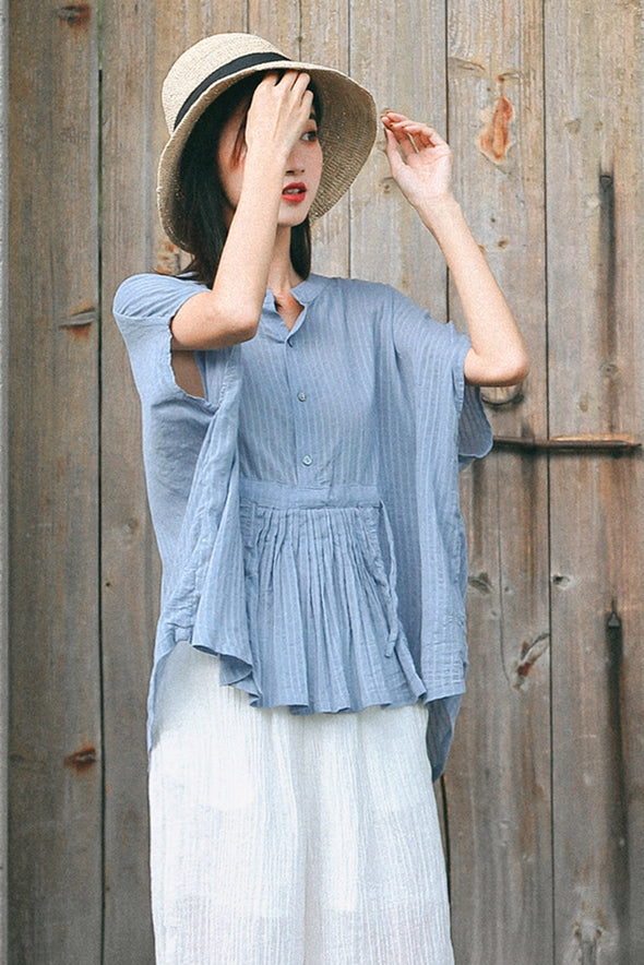 Casual Blue Cotton T Shirt Women Fashion Tops S8080