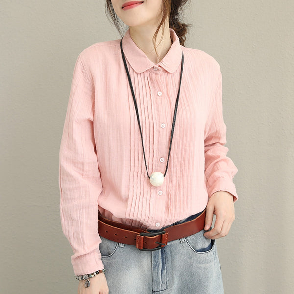 Cute Vintage Pink And Blue Cotton Shirt For Women Q1382