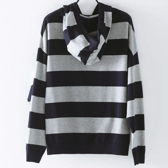 Casual Hoodie Striped Fleece Women Loose Blouse Z6607