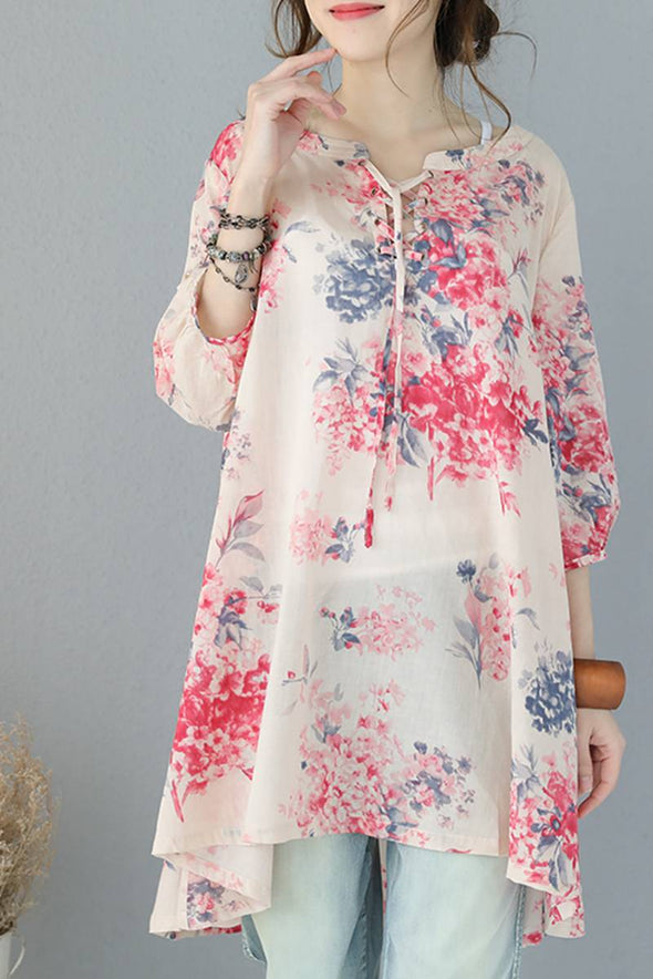 Women Summer Thin Floral Shirt Dress Long Lycras Q9051