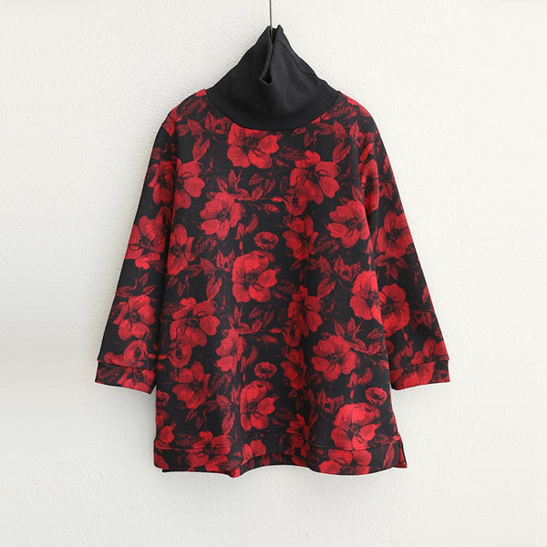 Women High Neck Floral Casual Shirt Loose Fall Tops Q1761