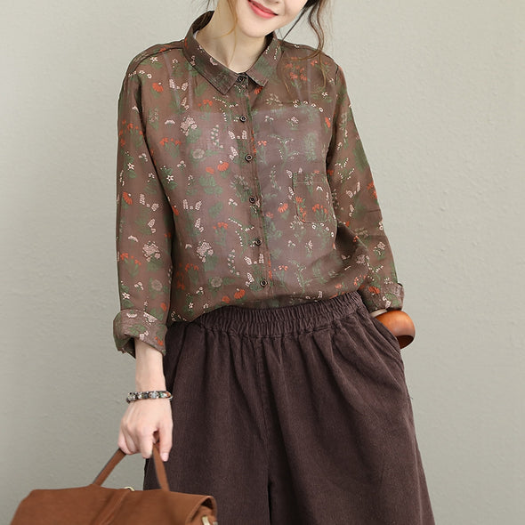 Casual Cute Floral Print Linen Shirt Women Loose Blouse Q1622